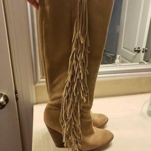 Mia Limited Edition Suede tall fringe boots 8